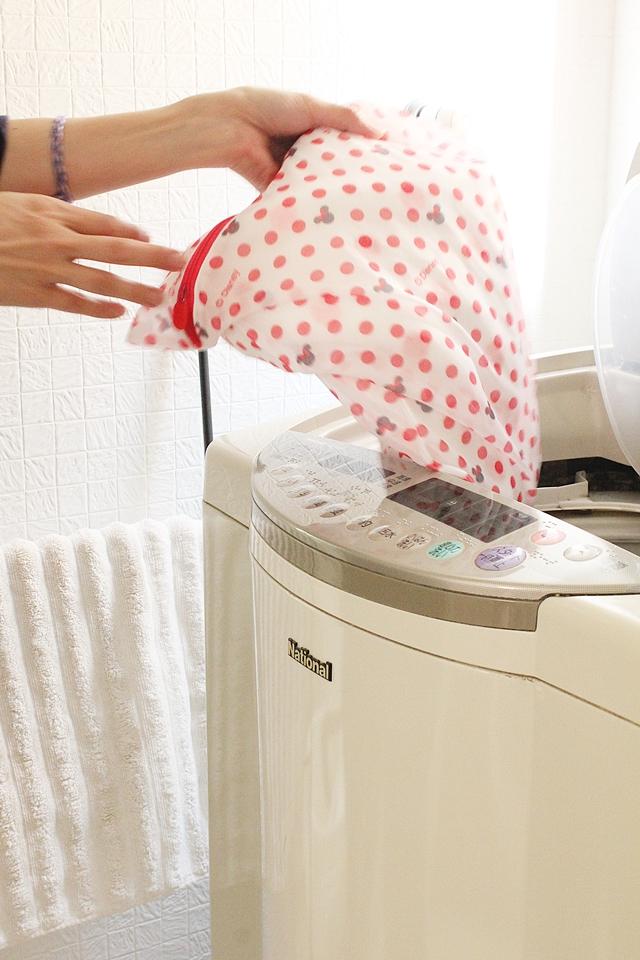 洗濯ネットを持ち出して、洗濯仕分けは外出先で