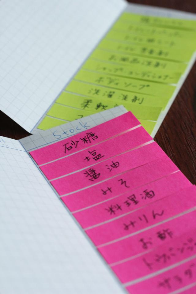 メモ用紙と付箋でつくる買い物メモ