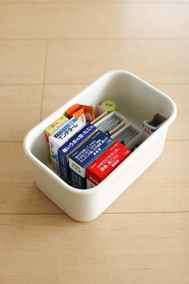 ごちゃごちゃしがちな薬の収納。使用頻度で分ければ見つけやすく、使いやすい