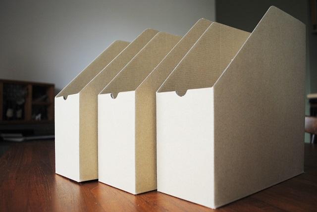 100円ショップの紙製ファイルボックス 切ることで見えない場所で大活躍!