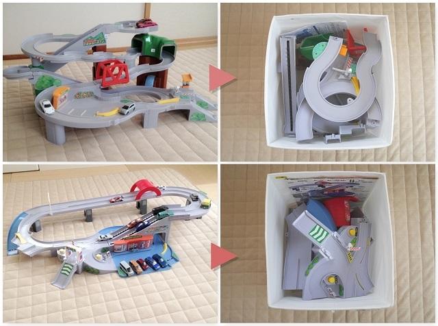 男の子が大好きな組み立て系のおもちゃ収納は、自分でできる仕掛けと片づけやすさで解決!