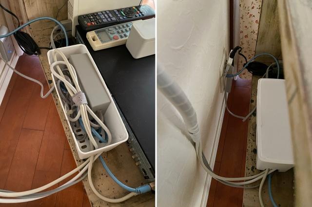 絡まりやすく、ごちゃごちゃしがちなケーブルの配線は、100均グッズでまとめて隠す収納で解決!