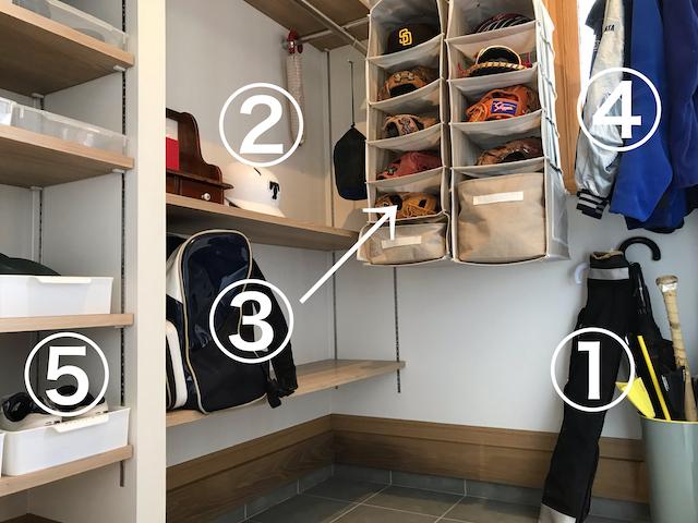 子どもの野球道具収納は玄関に。なるべくキレイに、自分で片づけてもらうための工夫とは