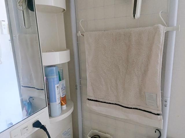 【賃貸一人暮らし】洗面台まわりの収納を増やすには、6cmの隙間でOKの突っ張りワイヤーネット